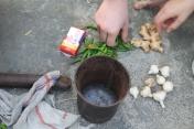 Herstellung von Pflanzenschutzmittel aus Chilli, Ingwer, Knoblauch und Seife.